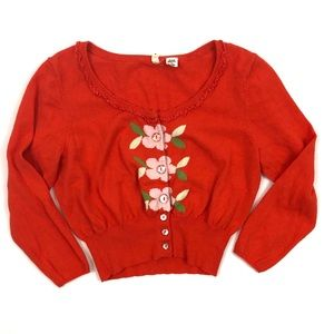 Anthropologie cropped orange floral sweater